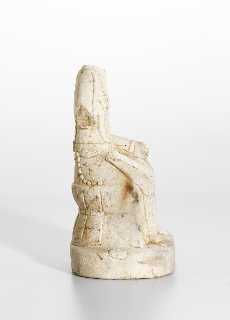 Chinese Carved Stone Figure of Seated Maitreya - 4