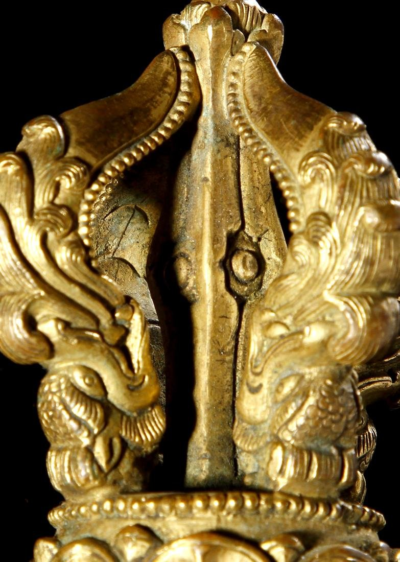 Sino-Tibetan Gilt Bronze Four-Pronged Vajra - 6