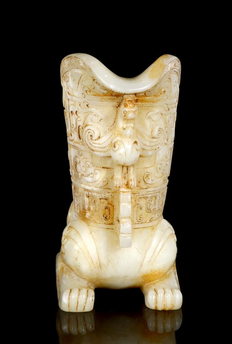 Chinese Celadon and Russet Archaistic Jade Rhyton - 5