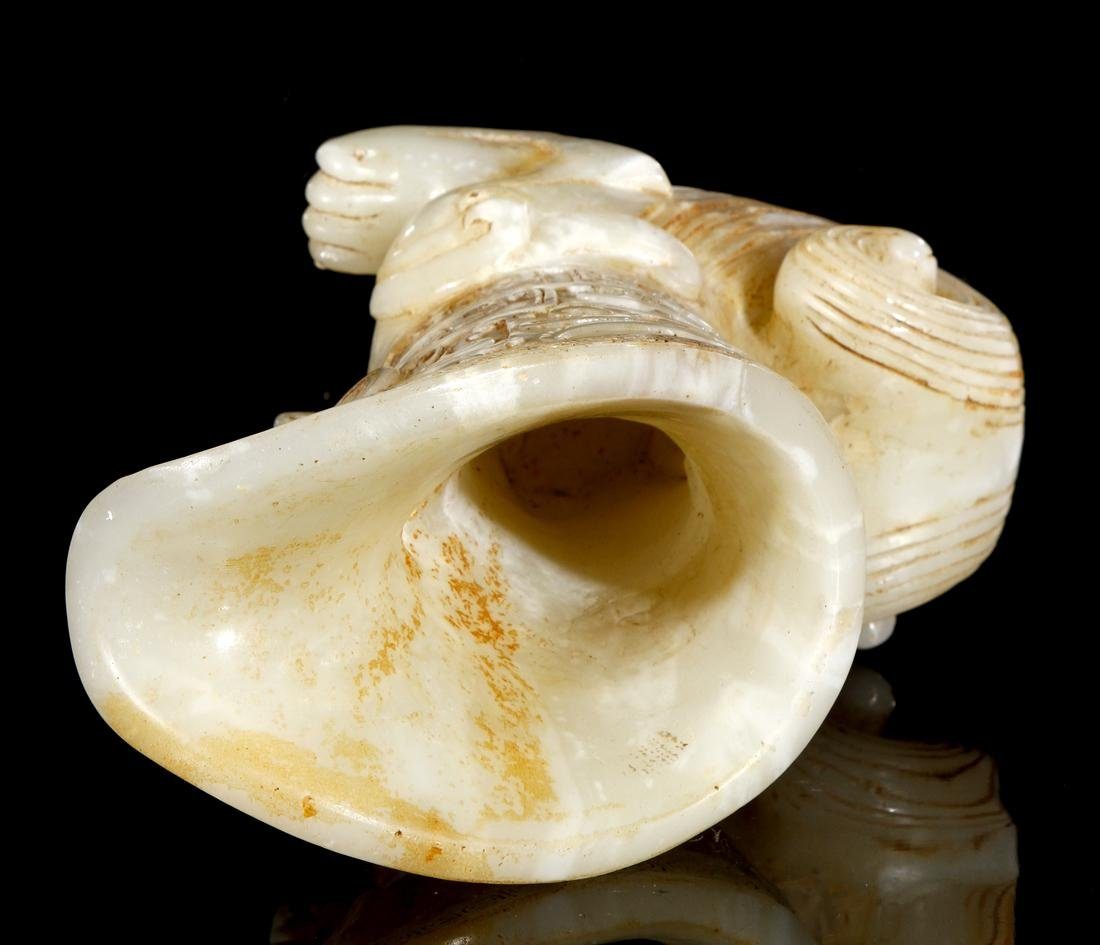 Chinese Celadon and Russet Archaistic Jade Rhyton - 6