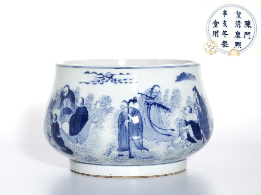 Large Chinese Blue/White 'Sixteen Luohans' Censer