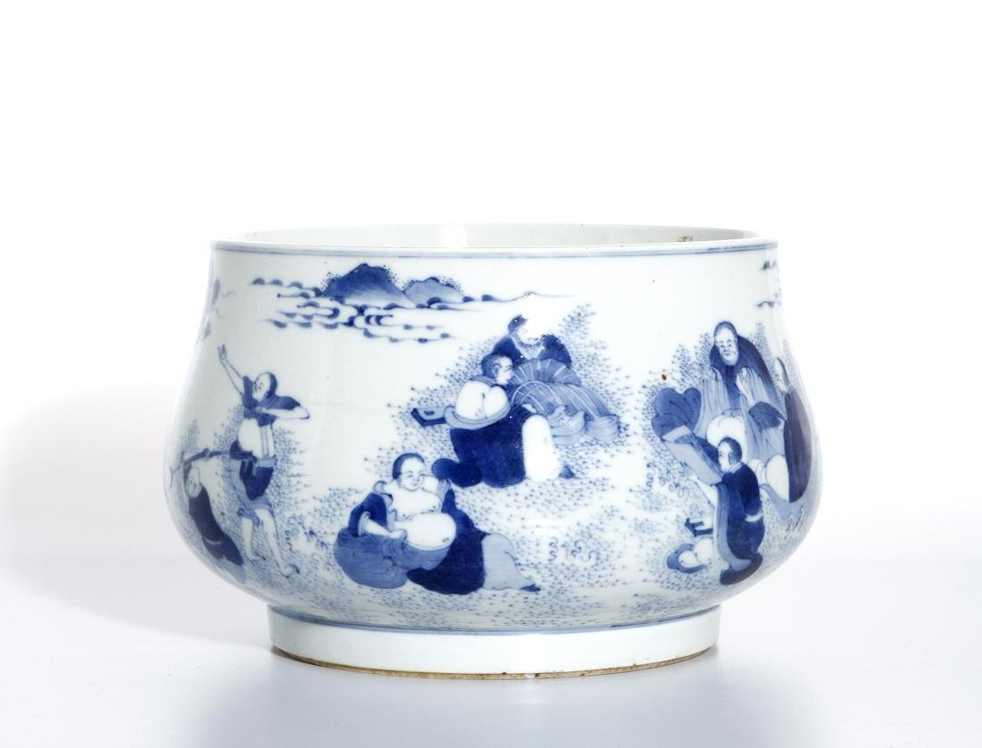 Large Chinese Blue/White 'Sixteen Luohans' Censer - 3