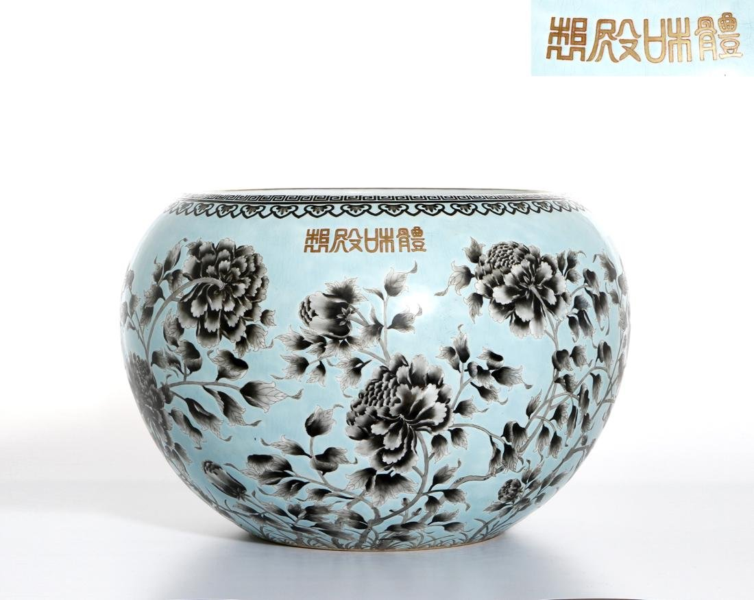 Rare Large Chinese Grisaille Turquoise Ground Bowl