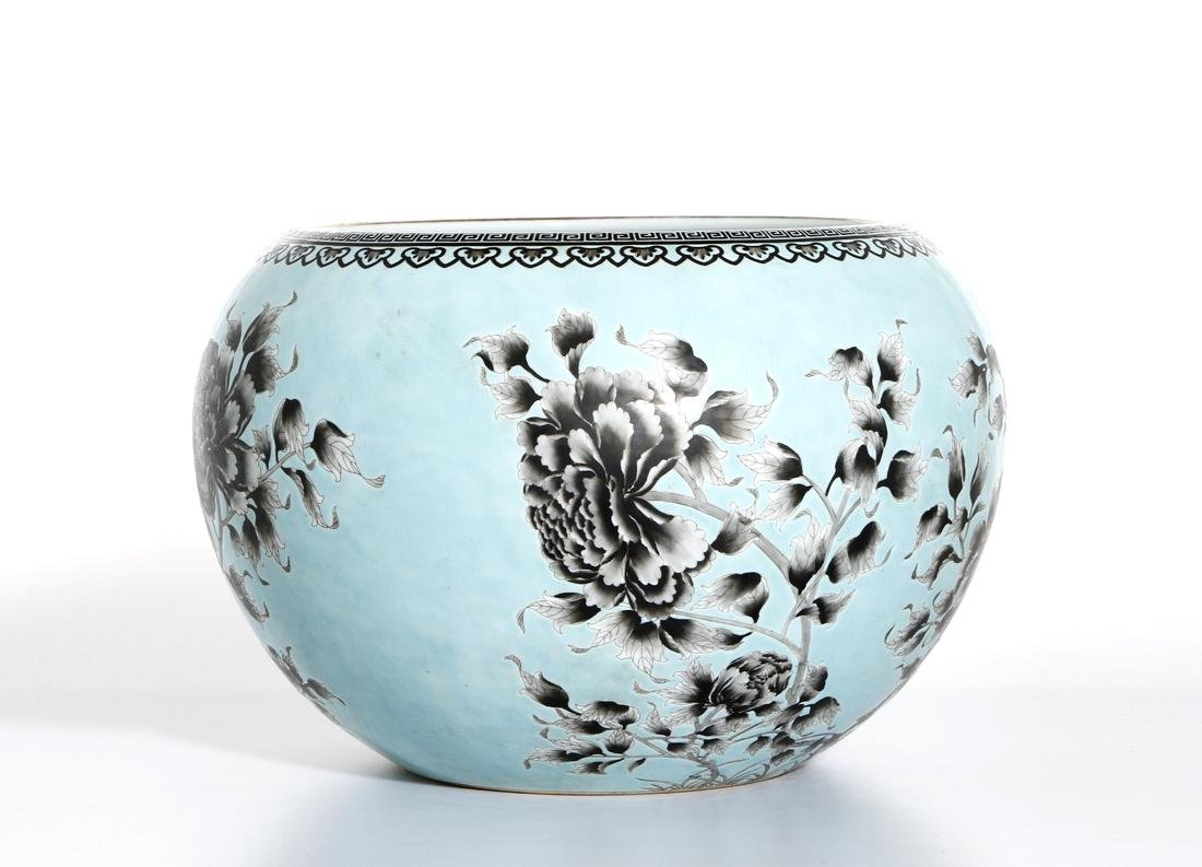 Rare Large Chinese Grisaille Turquoise Ground Bowl - 2