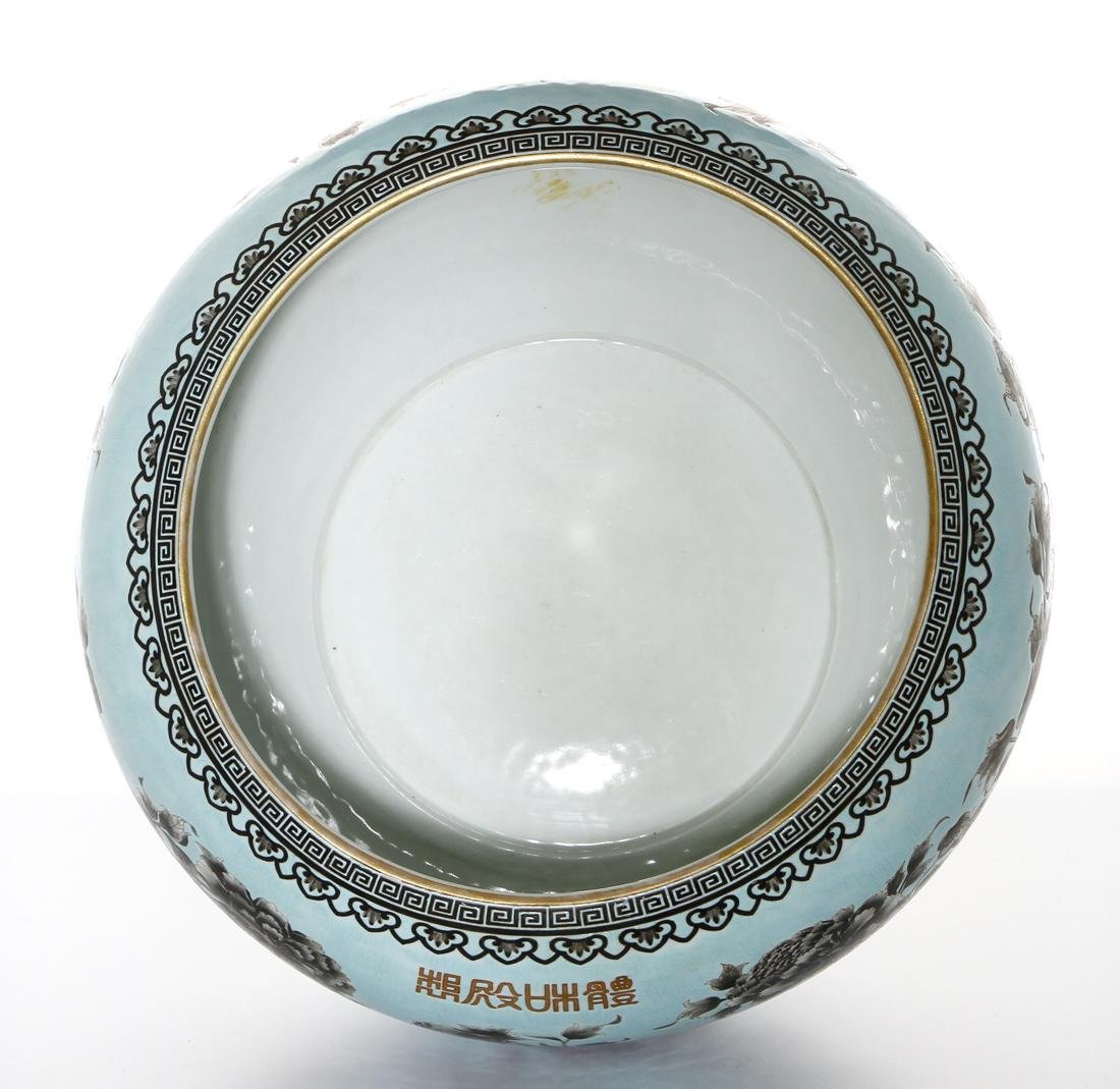 Rare Large Chinese Grisaille Turquoise Ground Bowl - 6