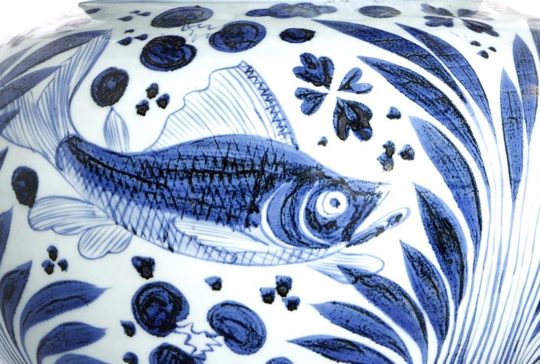 Large Chinese Blue/White'Fish' Jar - 5