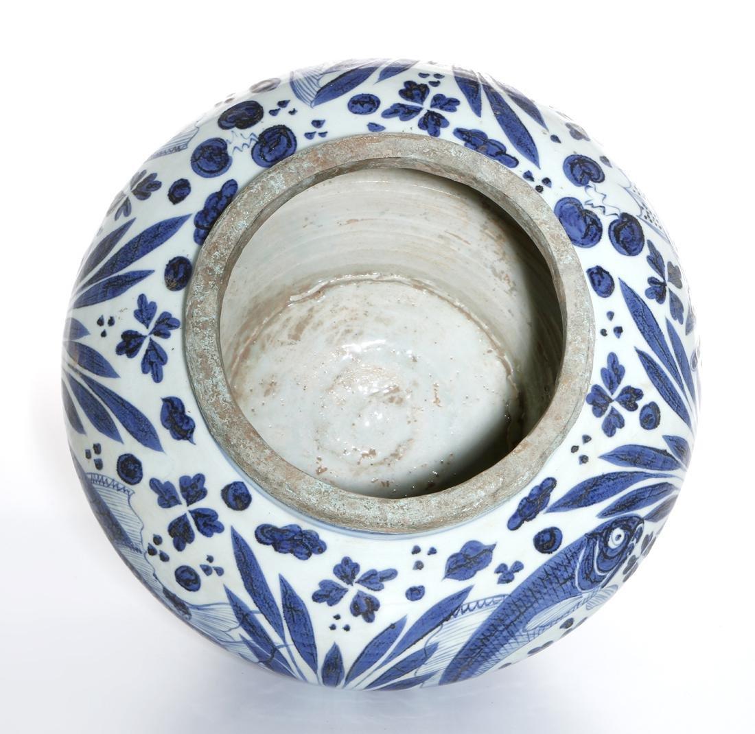 Large Chinese Blue/White'Fish' Jar - 8
