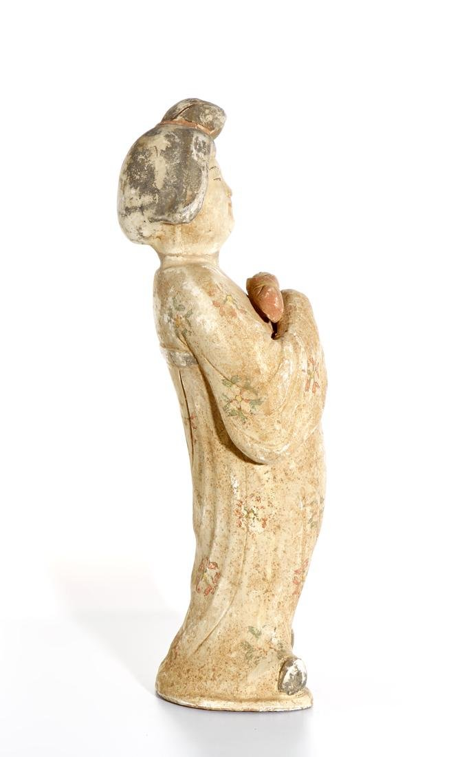 Chinese Painted Pottery Figure of a Lady - 2