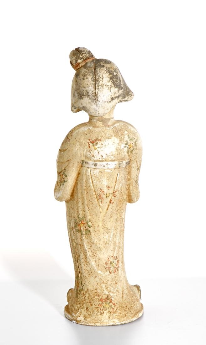 Chinese Painted Pottery Figure of a Lady - 3
