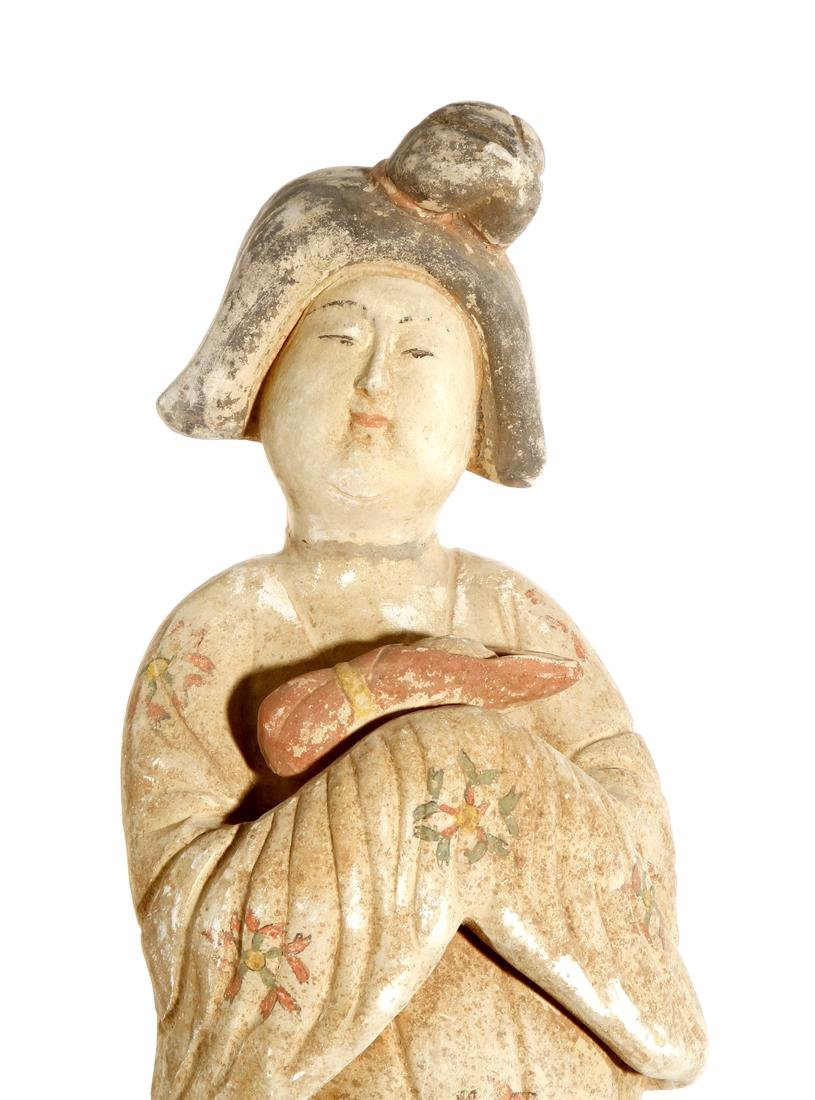 Chinese Painted Pottery Figure of a Lady - 5