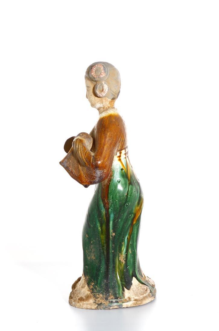 Chinese Sancai Glazed Pottery of a Lady - 2