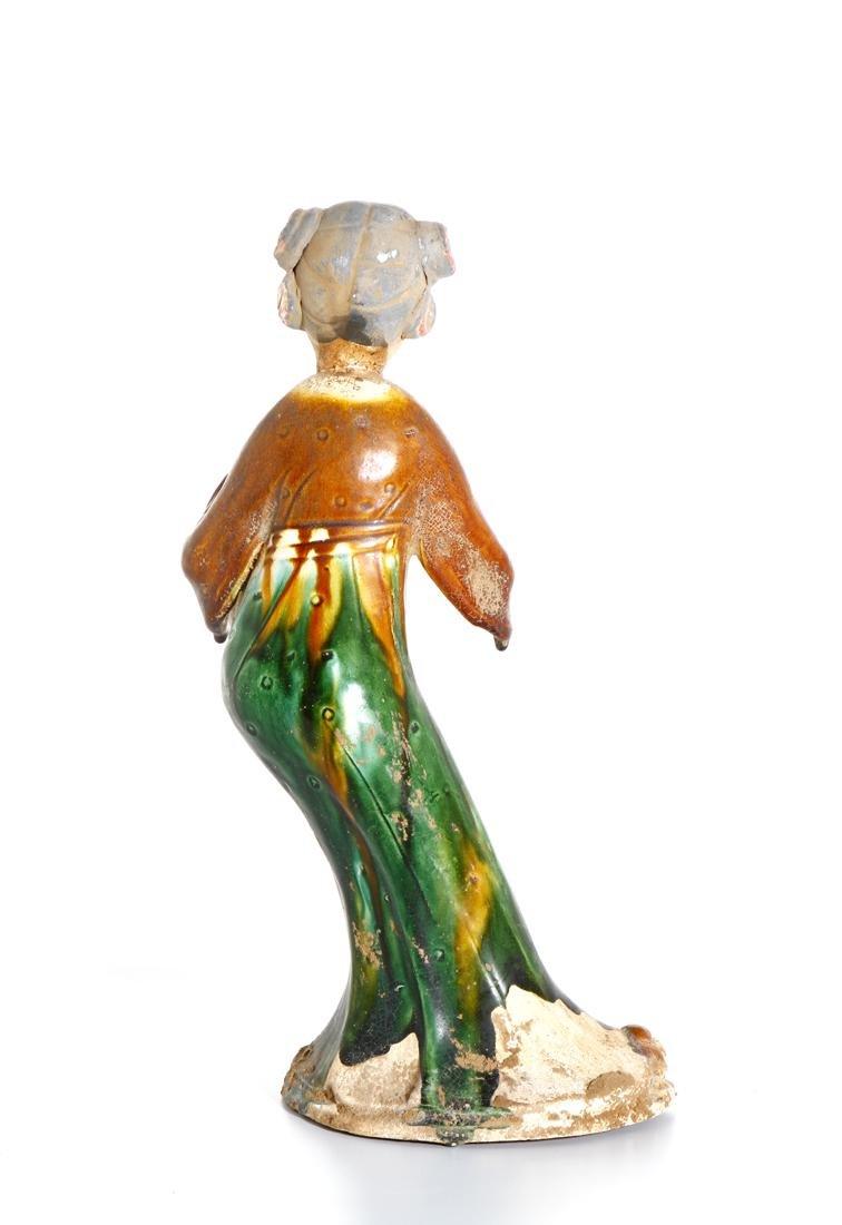 Chinese Sancai Glazed Pottery of a Lady - 3