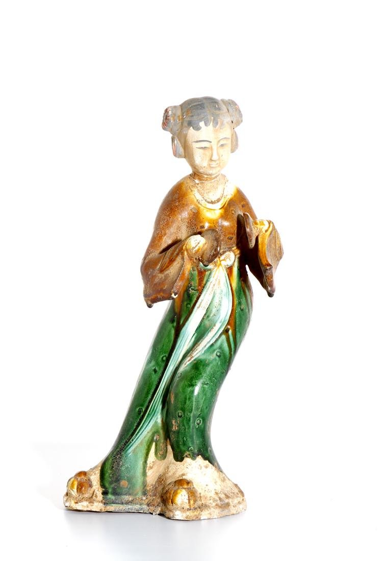 Chinese Sancai Glazed Pottery of a Lady - 4