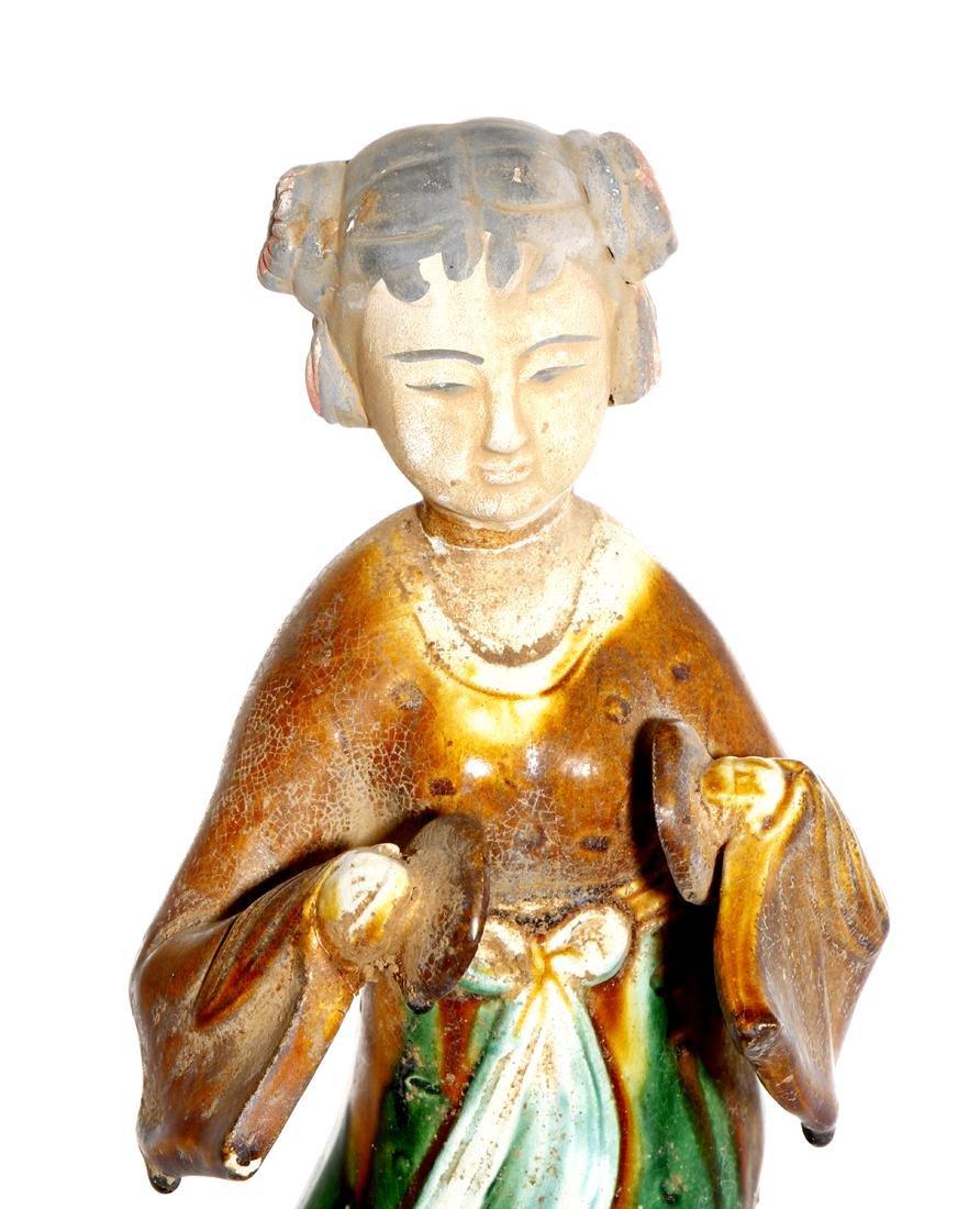 Chinese Sancai Glazed Pottery of a Lady - 5
