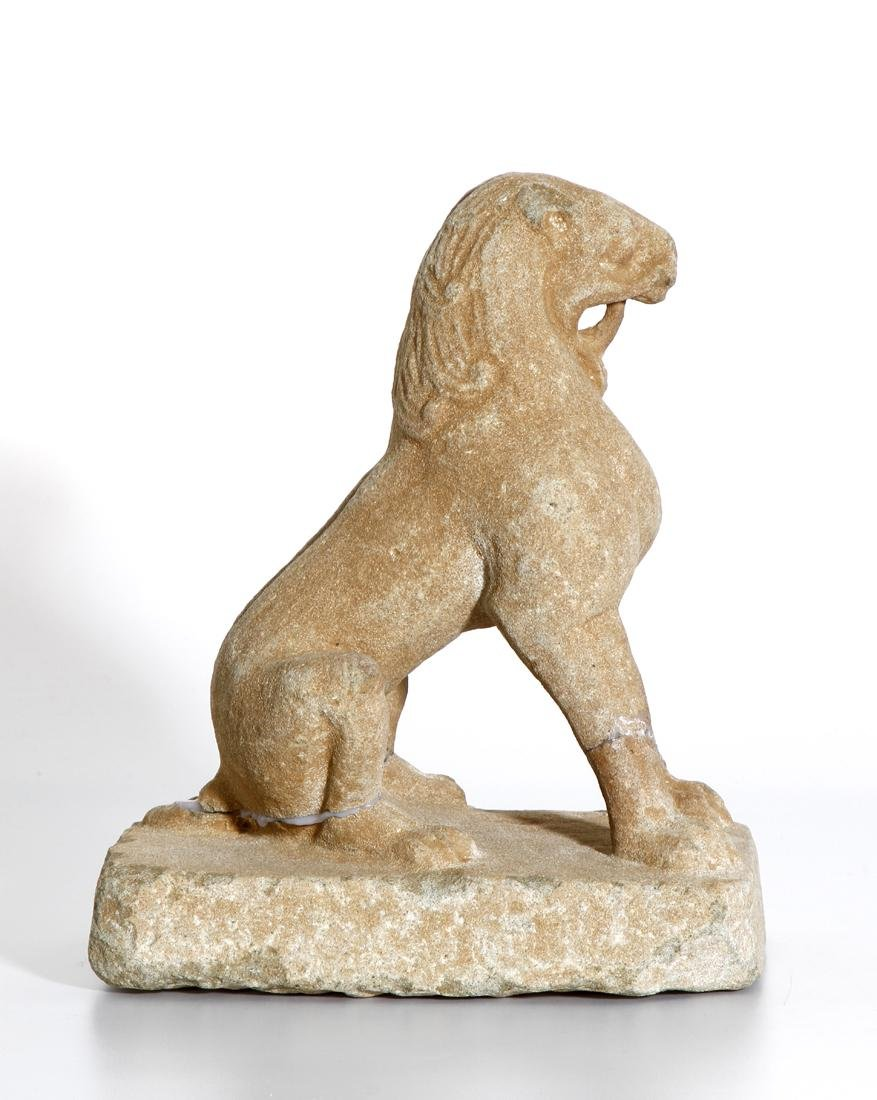 Chinese Carved Sandstone Statue of a Lion - 4