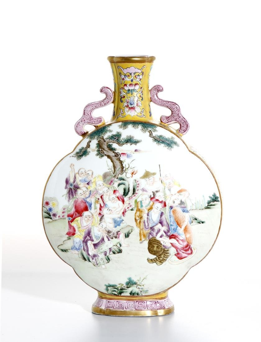 Chinese Yellow Ground Famille Rose Moonflask