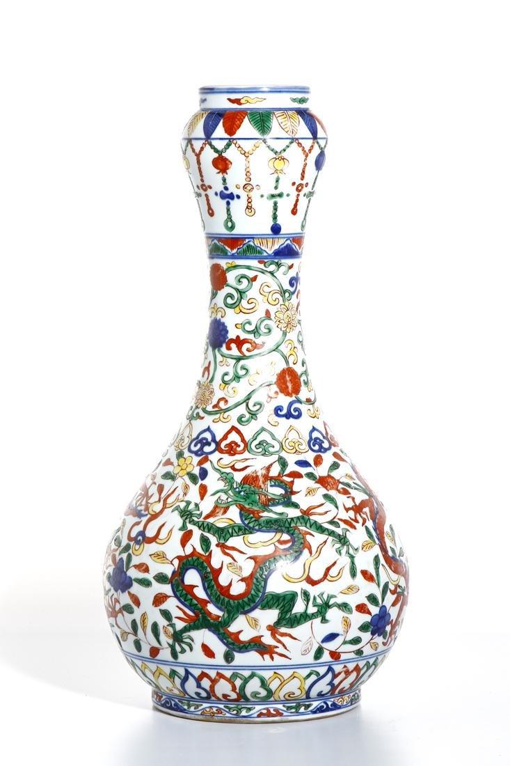 Chinese Wucai Enameled Garlic-Mouth 'Dragon' Vase - 2