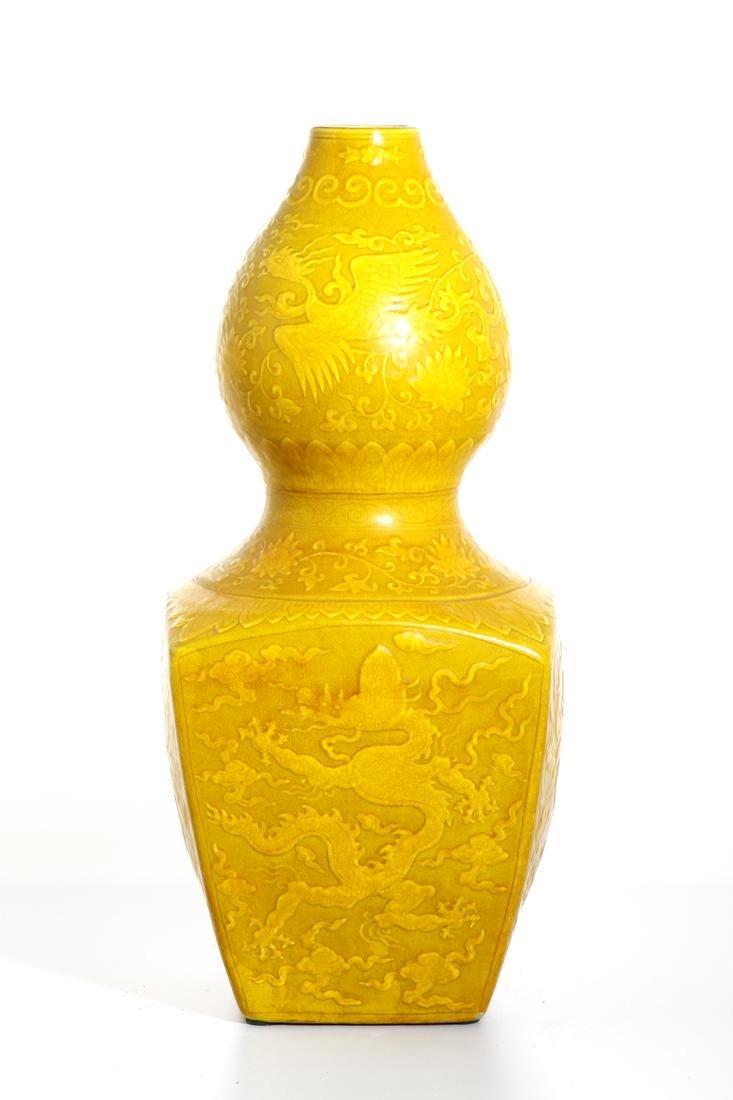 Chinese Yellow Enameled Double-Gourd Vase - 3