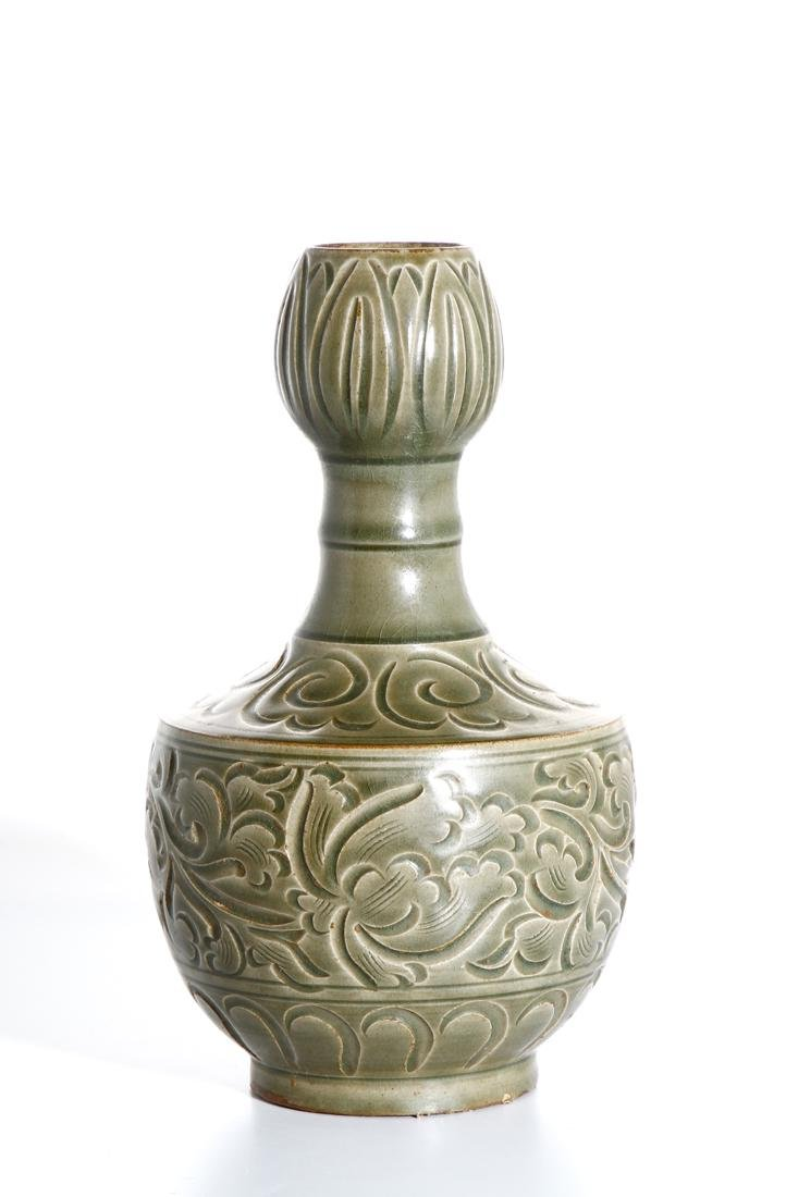 Chinese Yaozhou Carved Garlic-Mouth Vase