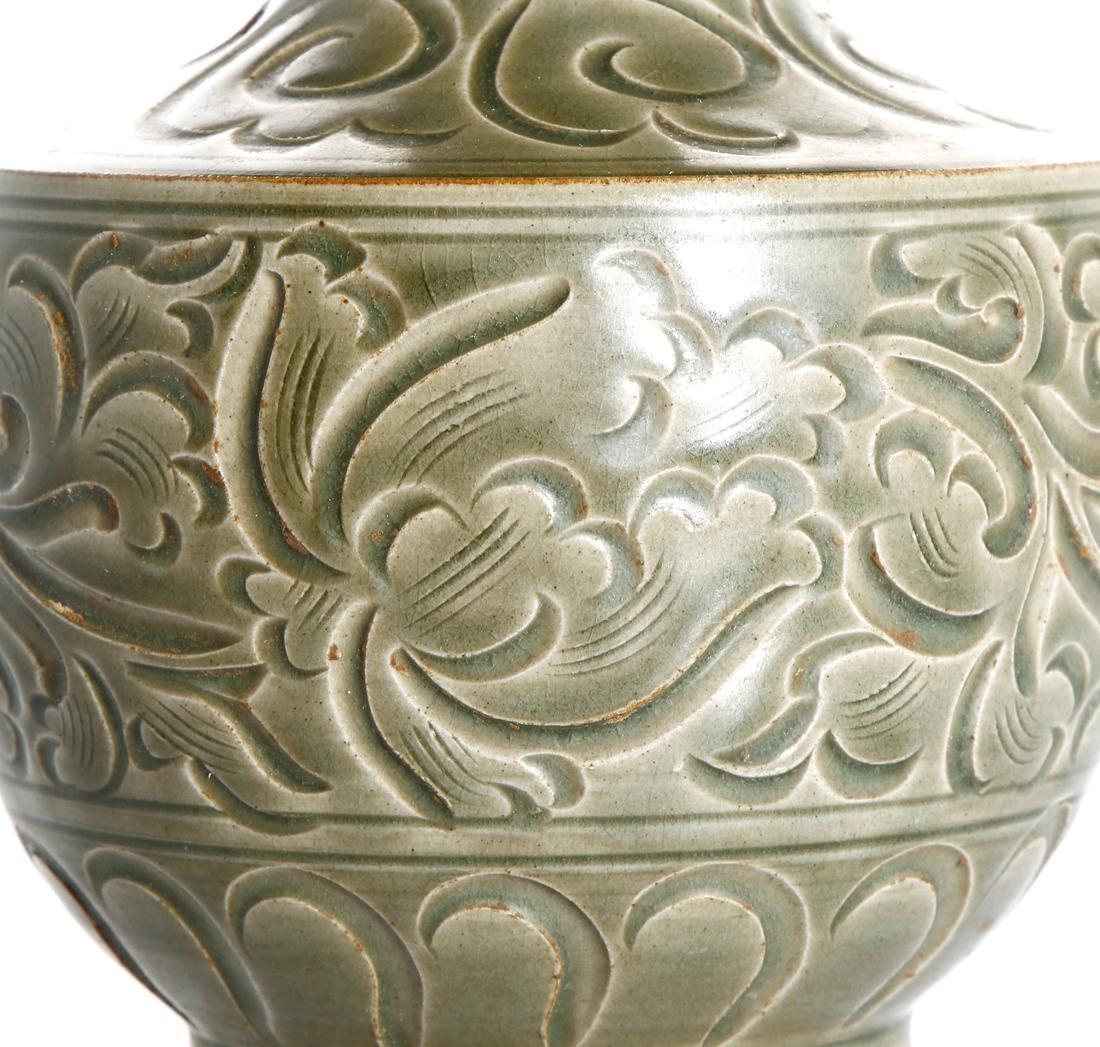 Chinese Yaozhou Carved Garlic-Mouth Vase - 4