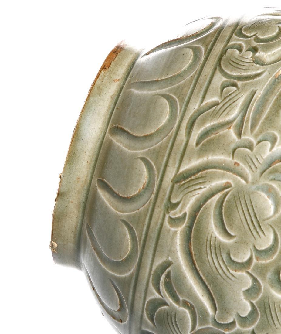 Chinese Yaozhou Carved Garlic-Mouth Vase - 9