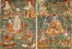 Chinese Thangka Depicting Arhats
