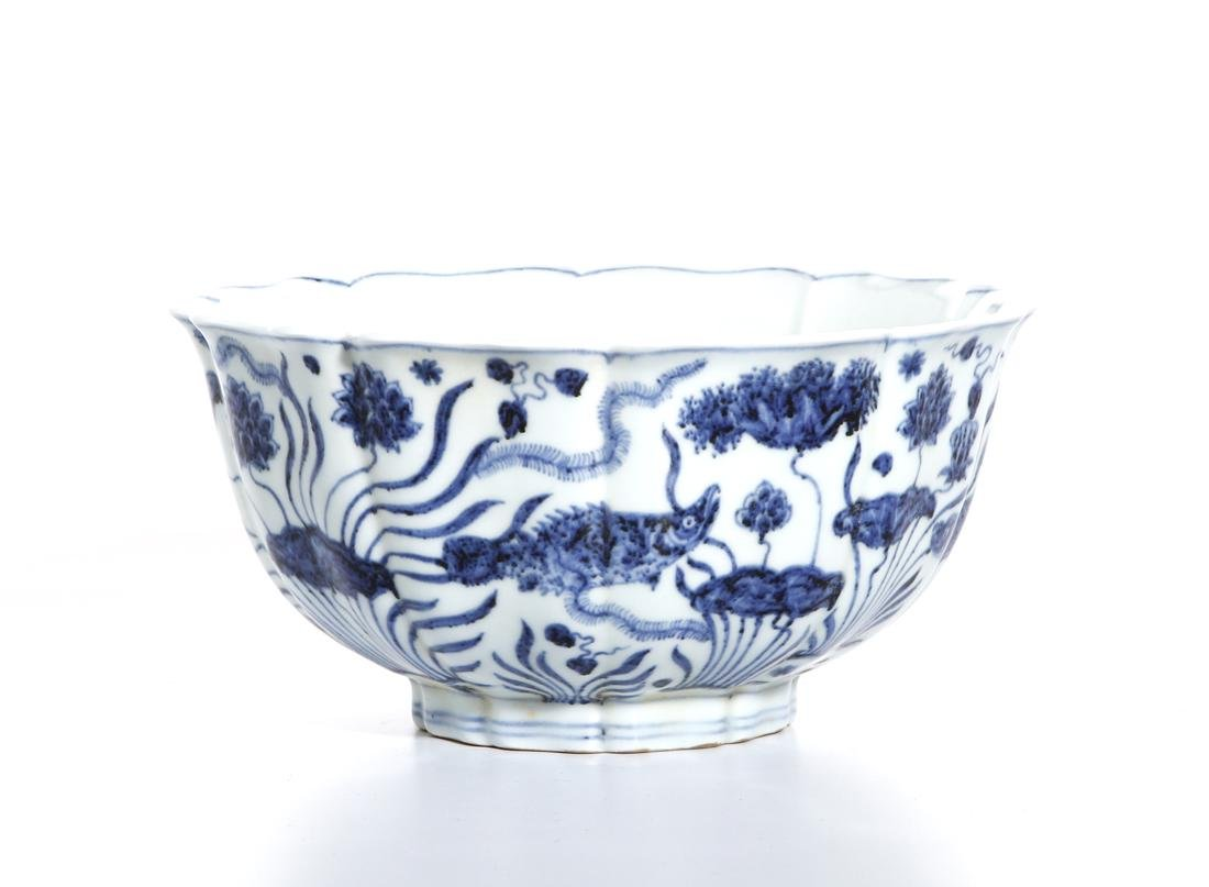 Fine Chinese Blue and White 'Lotus' Foliate Bowl