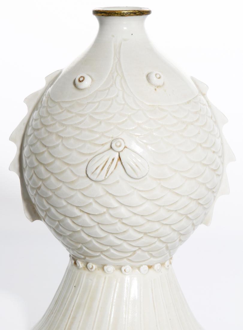 RareChinese Ding Ware Fish Form Bottle Vase - 5