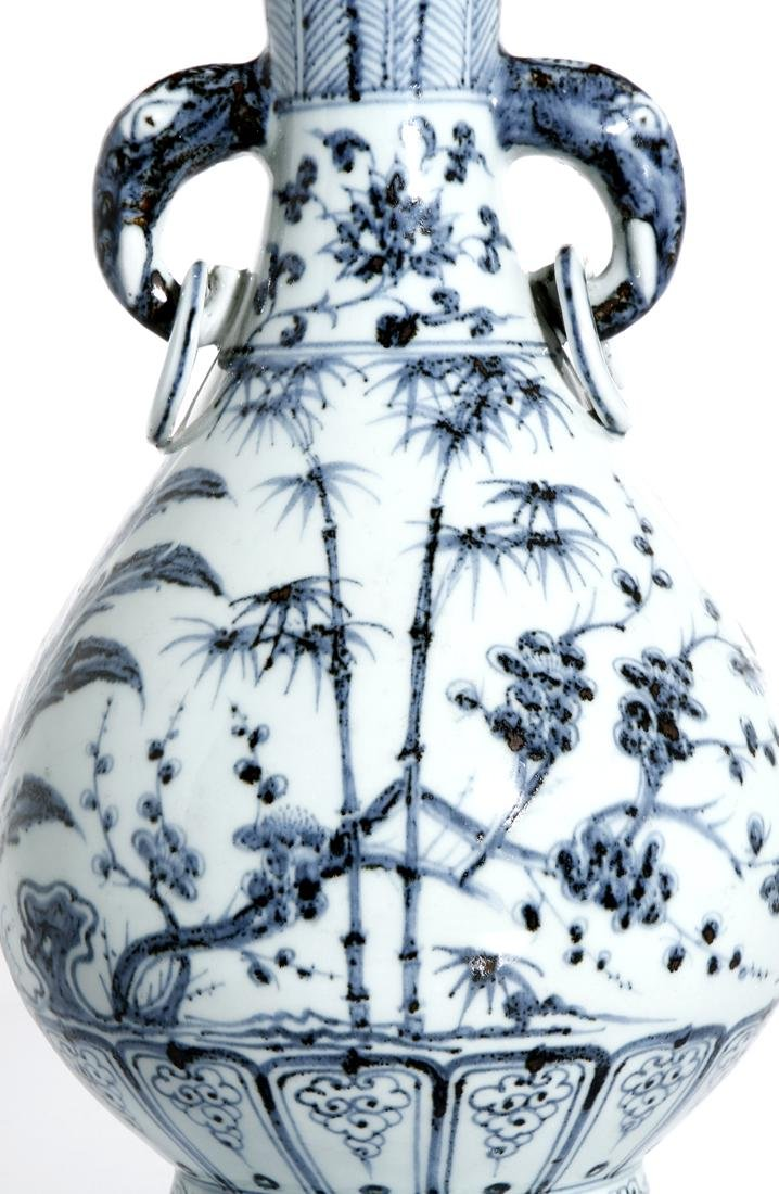 Chinese Blue and White 'Three Friends' Vase - 6