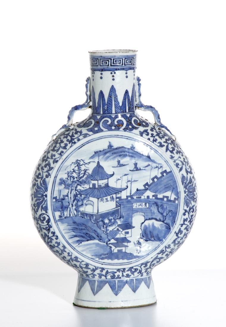 Chinese Blue and White Moon Flask Vase - 3