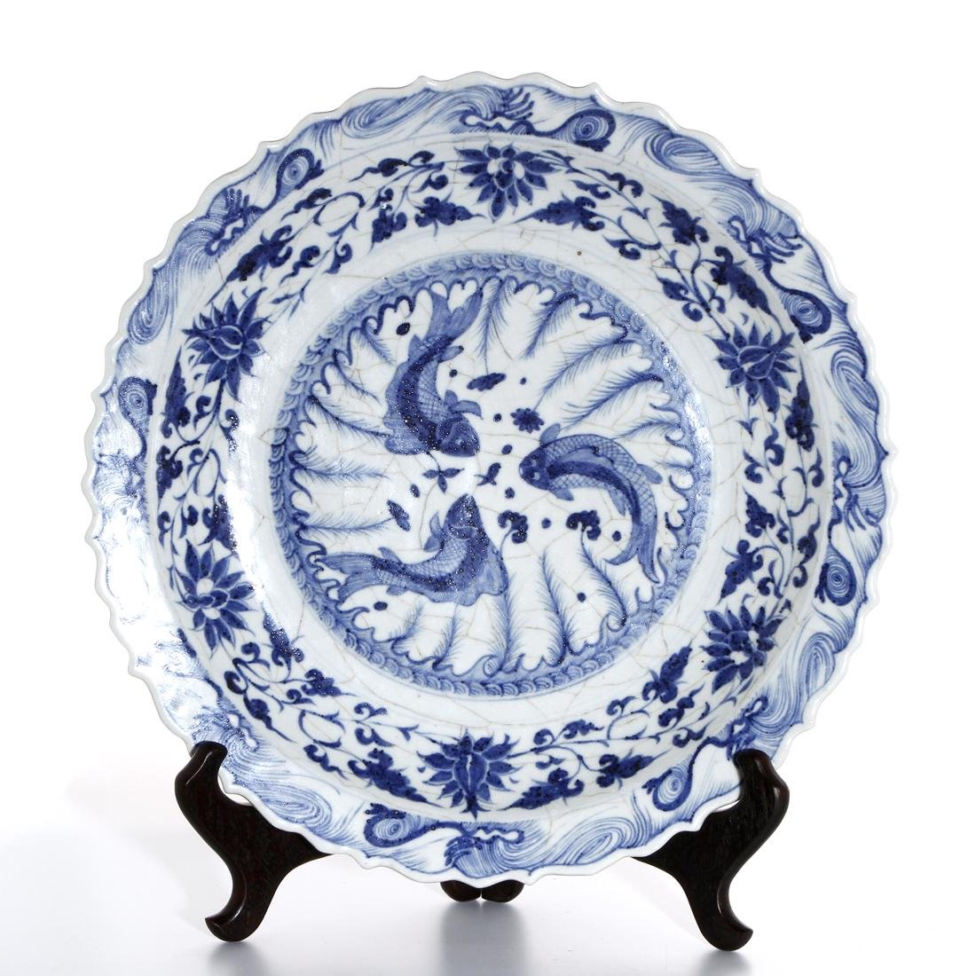 Large Chinese Blue and White 'Fish' Barbed Charger