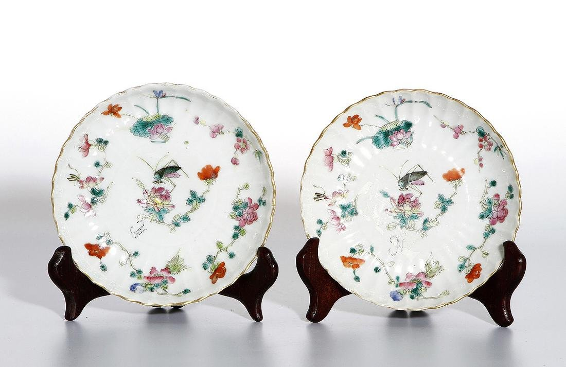 Pair of Chinese Wucai Dishes