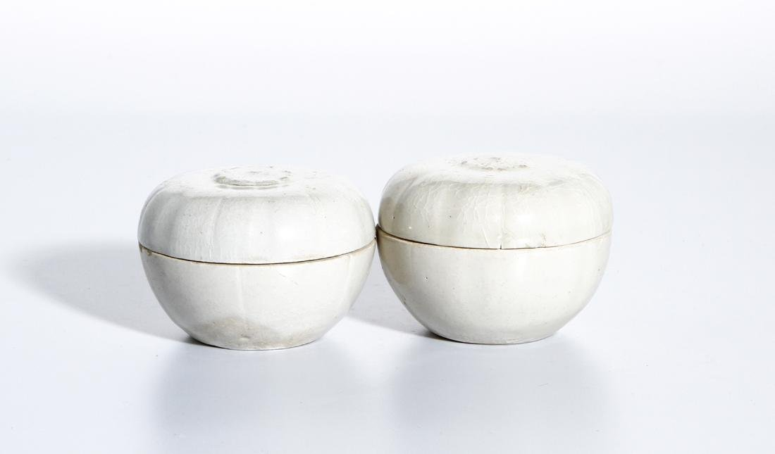 Pair of Chinese Qingbai Melon-Form Boxes