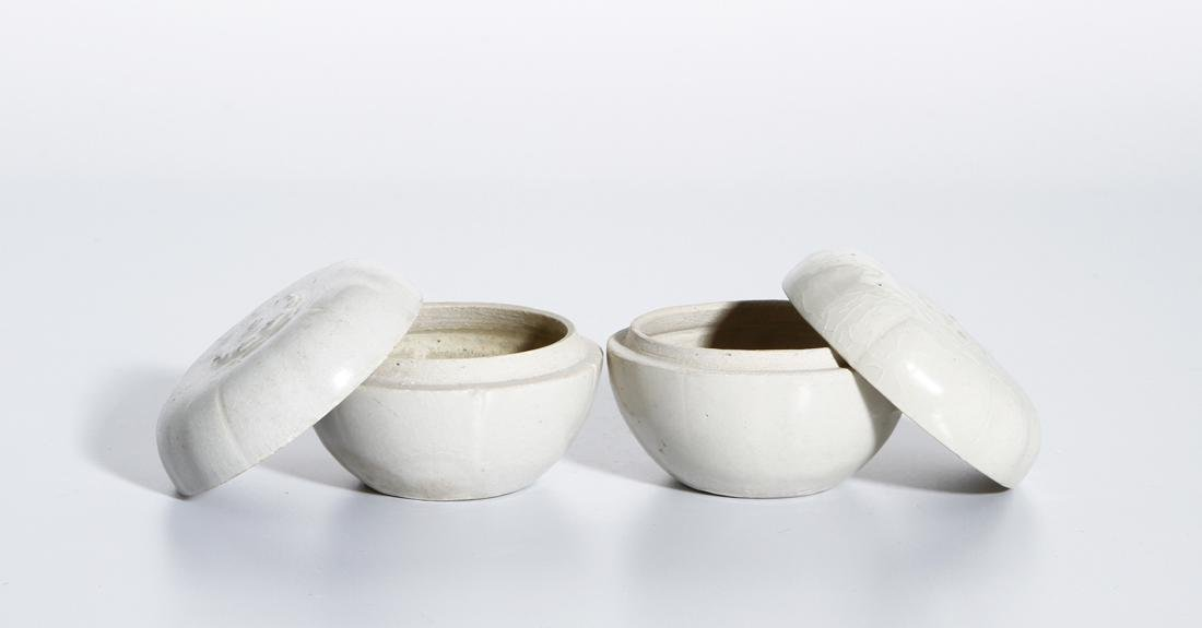 Pair of Chinese Qingbai Melon-Form Boxes - 2