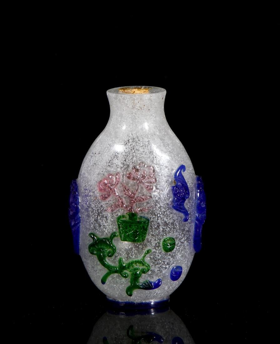 Chinese Multi-Color Overlay Glass Snuff Bottle - 2