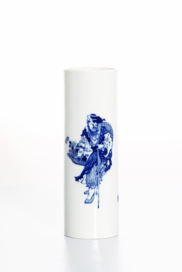 Chinese Blue and White Brushpot, Wang Bu mark