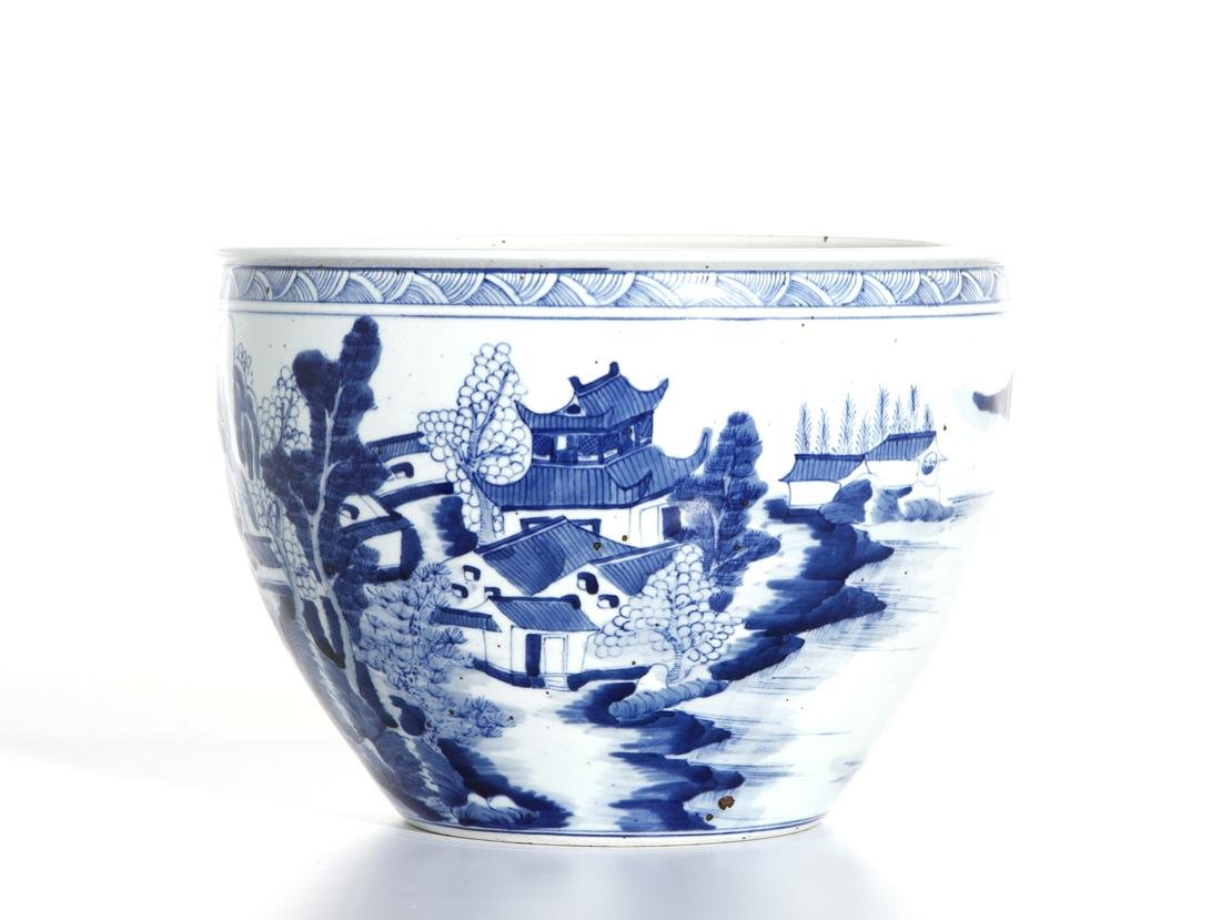 Chinese Blue and White 'Landscape' Jardinieres