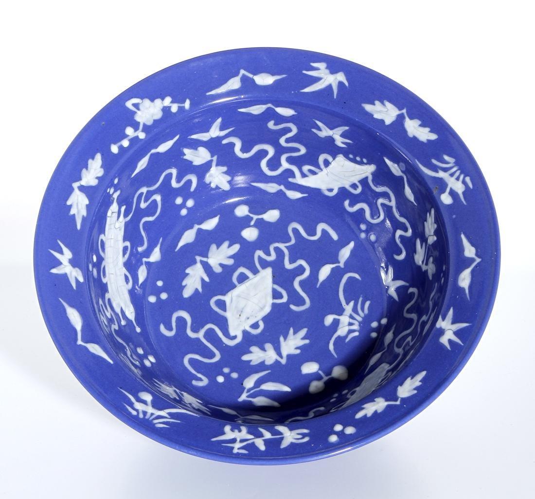 Chinese Blue Glazed Basin - 3