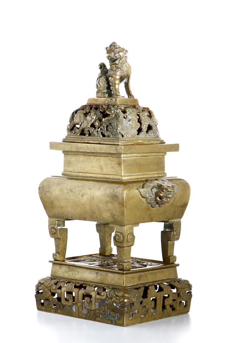Chinese Gilt Bronze Censer and Cover