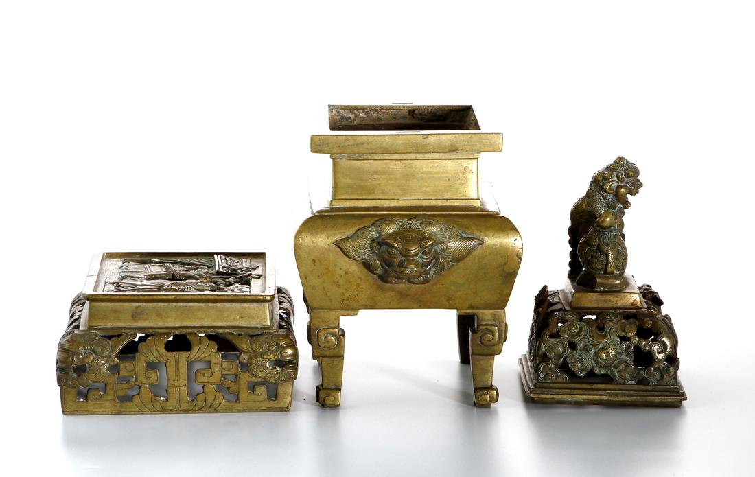 Chinese Gilt Bronze Censer and Cover - 4