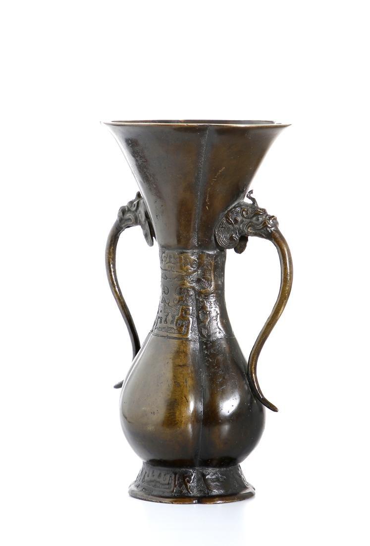 Chinese Bronze 'Taotie' Vase - 4