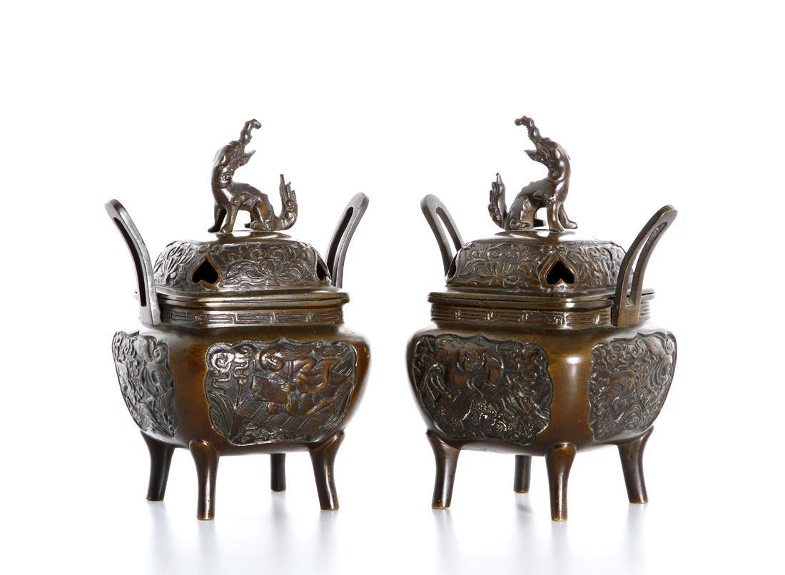Pair of Chinese Bronze Incense Burners
