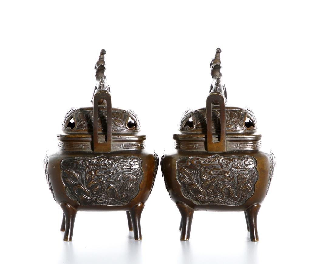 Pair of Chinese Bronze Incense Burners - 2