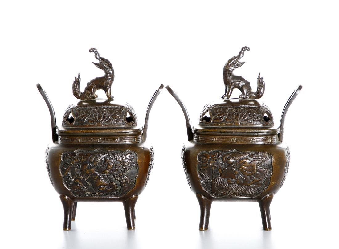 Pair of Chinese Bronze Incense Burners - 3