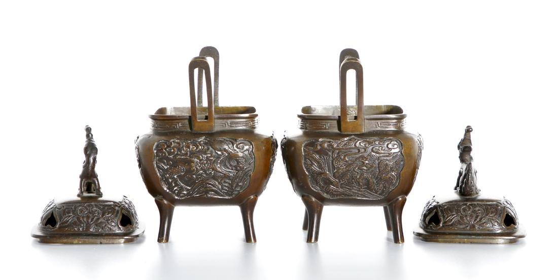 Pair of Chinese Bronze Incense Burners - 4