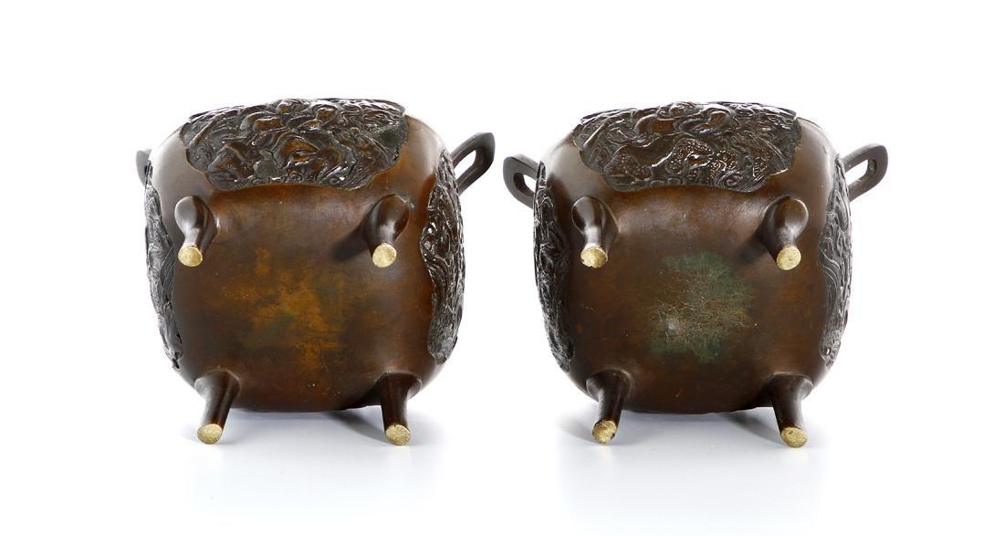 Pair of Chinese Bronze Incense Burners - 7