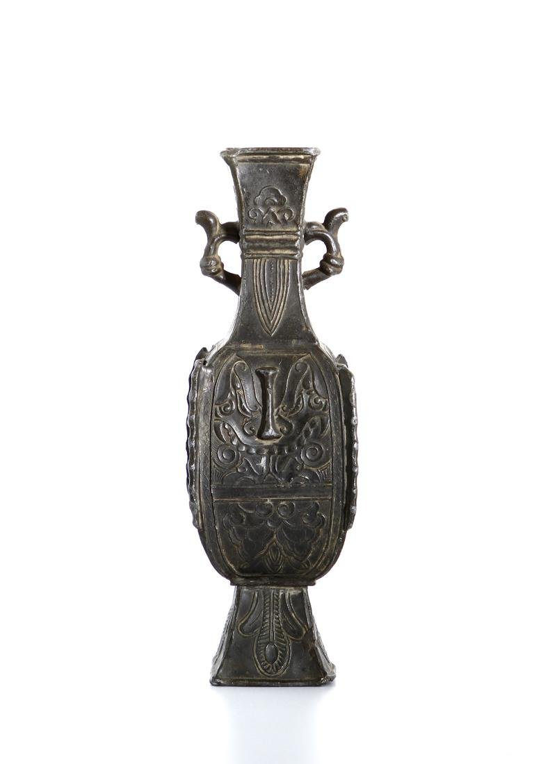 Chinese Bronze Quadrangular Hu-Form Vase