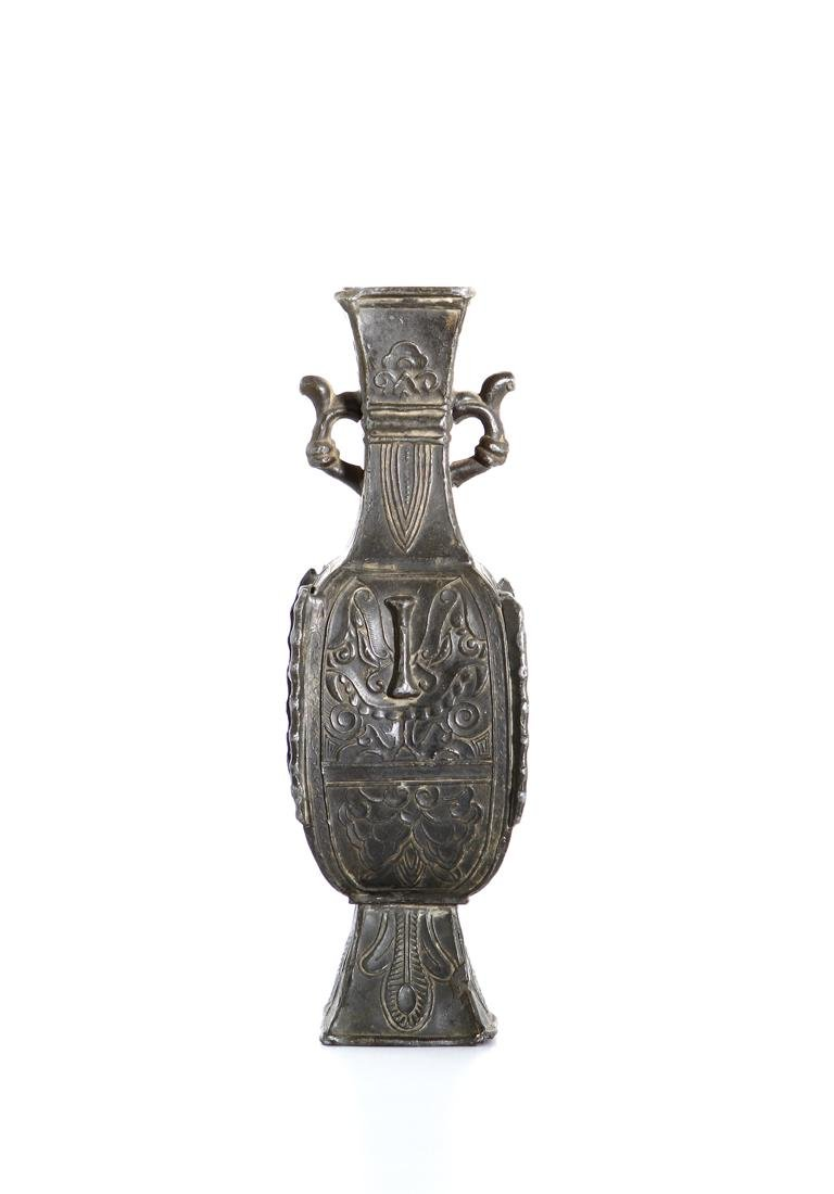 Chinese Bronze Quadrangular Hu-Form Vase - 2