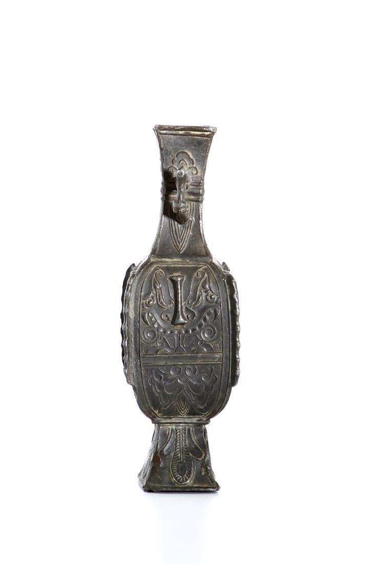 Chinese Bronze Quadrangular Hu-Form Vase - 4