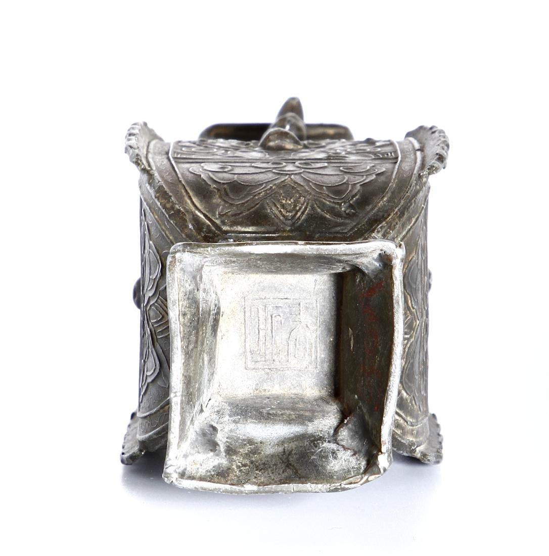 Chinese Bronze Quadrangular Hu-Form Vase - 7